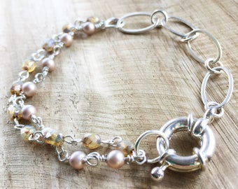 Silver Chain and Pearl Beaded Bracelet, Dusty Pearl and Tan copper beads