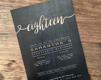 invitations, 18th Invitation, custom invitations, chalkboard invitation