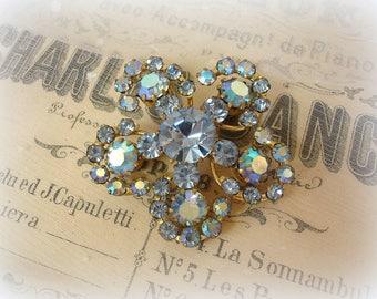 vintage rhinestone brooch prong set rhinestones flower brooch light sapphire blue rhinestones + light sapphire ab rhinestones