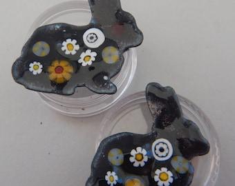Hand enameled Shank Button Bunnies  2018 B-31