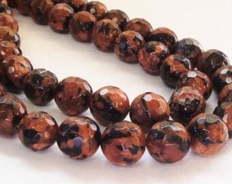 "Golden Sand Beads - Brown Black Faceted Round Beads - Gold Sand Stone - Natural Stone Unisex Bracelet Beads - 12mm - 7.5"" Strand - DIY Bulk"