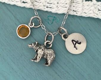 Bear Charm Necklace, Personalized Necklace, Silver Pewter Bear Charm, Custom Necklace, Swarovski Crystal birthstone, monogram