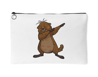 Dabbing Beaver Zipper Purse - Funny Dance Groundhog Day - Small Makeup Bag - Pencil Case for School - Small Zipper Pouch - Pouch With Zipper