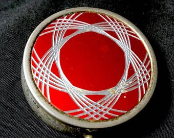 Vintage Pill Box Compact 1950s Atomic Compact Pill Box  Geometric Silver on Red Metal 50s Round Pillbox Container