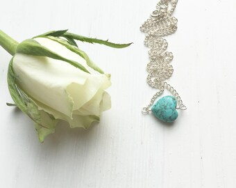 Turquoise Heart Necklace, December Birthstone, Turquoise Pendant, Turquoise Jewelry, Birthstone Necklace, Gift For Her, Summer Jewelry, Wife