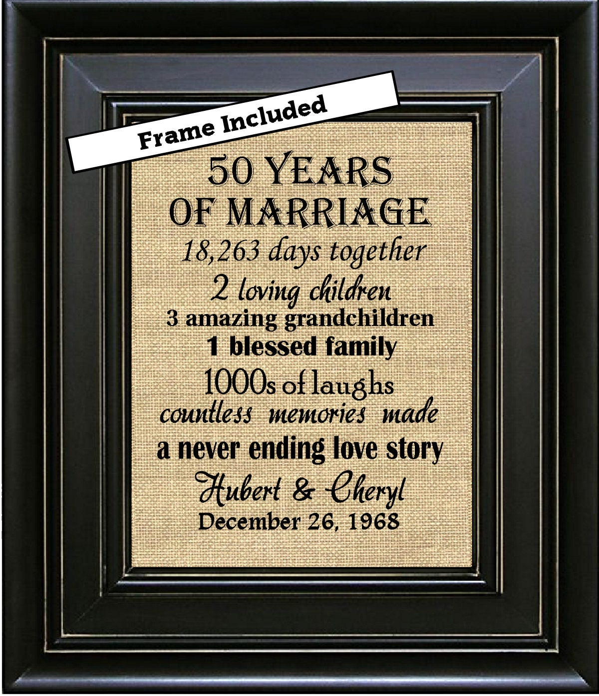Wedding Anniversary Gifts By Year: FRAMED 50th Wedding Anniversary/50th Anniversary Gifts/50th