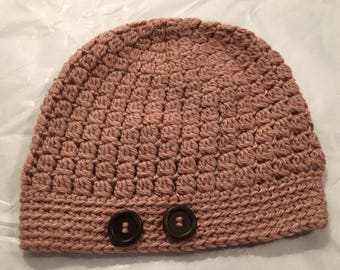 Copper Beanie Hat with Brown Buttons