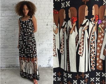 vintage Malia Hawaiian novelty print maxi dress / sleeveless 60s mod maxi dress