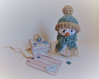 snowman crochet gift with tag