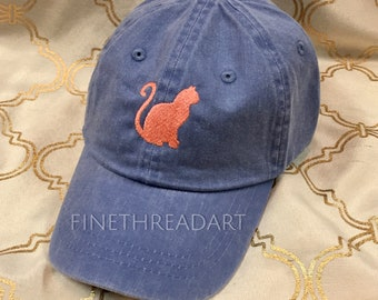 KIDS Size Cat Mini Design Baseball Cap Hat Leather Strap Beach hat Vacation Tabby Calico Cat Lady Monogram Kitty Kitten Hat