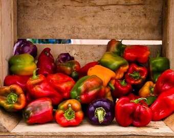 Food Art, Kitchen Photography, Colorful Wall Art, Vegetable Photo, Bell Peppers Print, Farmers Market Art, Crate of Peppers