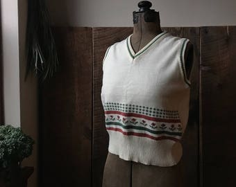 Womens 1970s Knit Sweater Vest