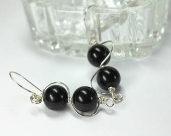 Black Earrings, Black Onyx Earrings, Dangle & Drop Earrings, Black and Silver, Modern Long Black Earrings