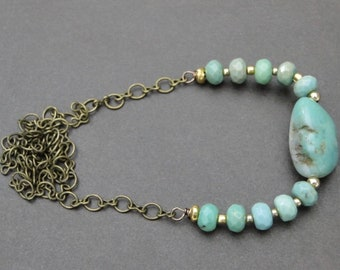Women's Jewelry / Springtime Chrysoprase Gemstone Necklace / Handmade Jewelry / Raw Chrysophrase Stone Necklace / Gift for Her
