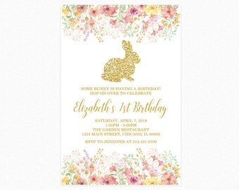 Bunny Rabbit Birthday Party Invitation, Watercolor Flowers, Gold Glitter Bunny Rabbit, Printable or Printed