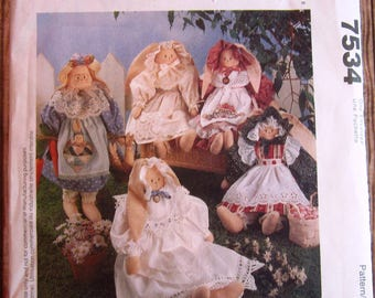 Bunnies and Baby Bunnies Vintage 1990s McCalls Crafts Pattern 7534 UNCUT