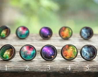 Galaxy earrings, Solar system earrings, Planet earrings, Milky Way, Nebula earrings, nebula studs, Science earrings