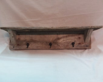 Hanging Coat Rack Made With Rustic Wood