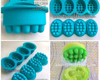 MASSAGE BAR Silicone Soap Mold, 4-4.5 oz Cavities, Professional Grade Mold, Two Wild Hares