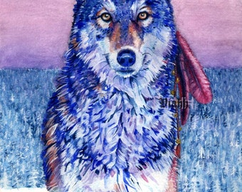 "1x blank wolf postcard ""Kaamos Wanderer"""