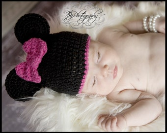 Girl Mouse Crocheted Cotton Hat - Great Photo Prop