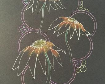 zentangle cone flowers, flower art, zentangle flowers, colored flowers, zentangle art, ink gel pens, black paper art,
