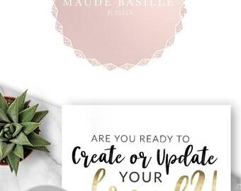 214 - Maude Basille, LOGO Premade Logo Design, Branding, Blog Header, Blog Title, Business, Custom, Modern, Rose Gold, Pink, Glitter