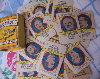 vintage miniature authors playing cards