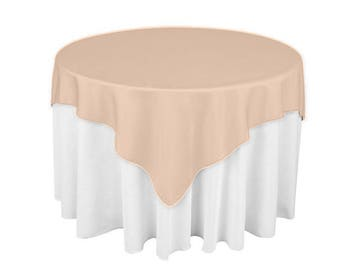 Peach 60 X 60 Square Overlay 100% Woven Polyester Tablecloth For Banquets,  Weddings U0026