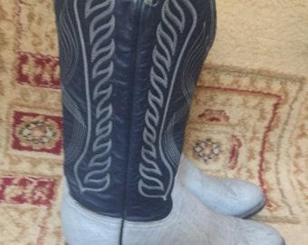 Men's Vintage Tony Lama Blue Grey Leather Western #8119 Cowboy Boots Size 9.5 D