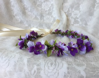 Purple pansy crown,pansy flower hair vine,purple wedding,wild flowers crown,boho pansy hair wreath,lilacs and pansies floral circlet