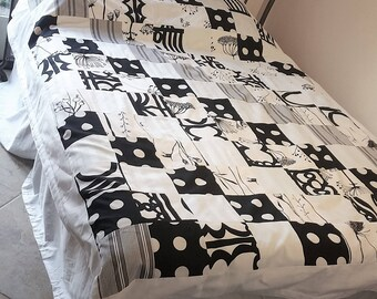 Black and white bedding, Twin Full patchwork, modern quilt, memory quilt, weighted blanket, patchwork bedding,