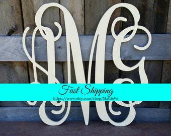 Wooden Monogram   Wood Monogram   Monogram Door Hanger   Monogram Wreath    Housewarming Gift   Wedding Gift   Personalized Gift