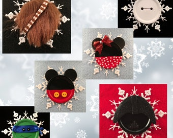 Ornaments, Christmas Ornament, Snowflake, Holiday Ornament, Mickey & Minnie Mouse, Baymax, Ninja Turtle, Vader, Chewbacca