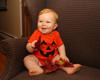 Pumpkin King - Screen Printed Jack-o'-Lantern Onesie