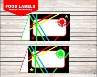 laser Food Labels instant download, laser Tent cards , laser Party Food tent cards