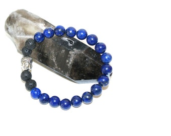 Lapliz Lazuli & Lava Rock Aromatherapy Diffuser Bracelet, Essential Oils, Aromatherapy Free Sample Bottle Included!