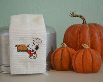 Embroidered Bar Mop Towel / Kitchen Towel / Snoopy THANKSGIVING /  Thanksgiving TURKEY / Peanuts / Charlie Brown / Novelty Towel