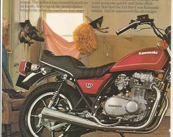 1980 Advertisement Kawasaki 2 Page KZ440 LTD Motorbike Riding Bike Going the Distance Cheerleader Economy Rider Garage Shop Wall Art Decor