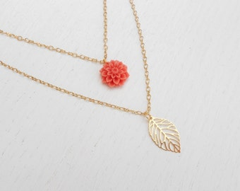 Double strand necklace, Pink coral necklace, Coral flower necklace