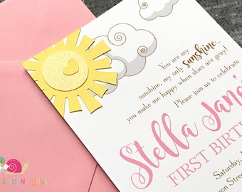 You Are My Sunshine Invitations · A6 FLAT · Pink Yellow and Gold · Birthday Party | Sunshine Baby Shower | First Birthday Party