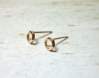 Rose Gold Hexagon Stud Earrings, Dainty Earrings