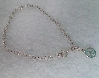 Dainty Vintage Sterling Silver Peace Sign Bracelet