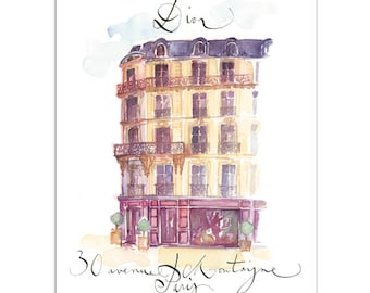 Dior house in Paris print, Watercolor Paris painting, Paris wall art print, Paris architecture drawing, French home decor, Dior illustration