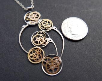 "Watch Gear Pendant ""Aryabhata"" Recycled Mechanical Clockwork Necklace Elegant Sci Fi Steampunk Mechanical Mind Birthday Wedding Gift"