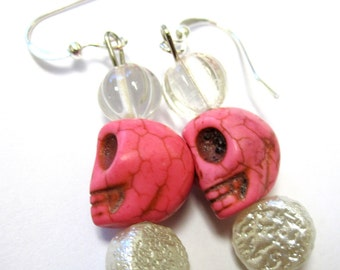 Day of the Dead Earrings Sugar Skulls Jewelry Pink