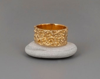 Chunky Gold Ring, Wide Ring, Gold Band Ring, Unique Mens Ring, Womens Ring, Boho Ring, Wedding Band Ring, Large Ring, Textured Ring Modern