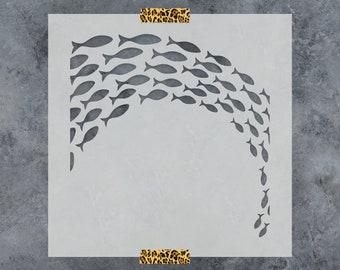 School of Fish Stencil - Reusable DIY Craft Stencils of a School of Fish