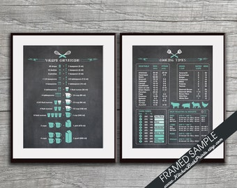 Kitchen Conversion and Cooking Times Chart - Set of 2 Art Prints (Featured on Blackboard with Robins Egg Accents) Kitchen Art Print Posters
