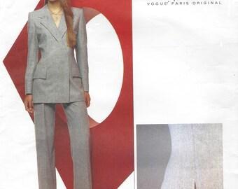 90s Alexander McQueen for Givenchy Womens Below Hip Jacket & Contour Waist Pants Vogue Sewing Pattern 2467 Size 12 Bust 34 FF Vogue Paris